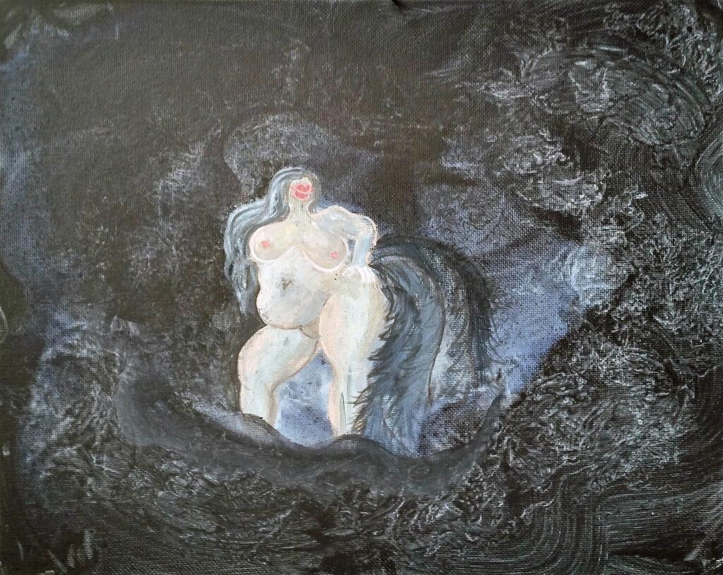miriamlenk wellenfrau 2019 acryl auf malpappe.eine üppige frau steht inmitten von wellen vor einem bleigrauen himmel.